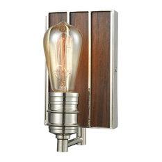 Art Deco 1 Light Vanity Light in Polished Nickel Finish