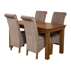French Chateau Oak Dining Table With 4 Montana Chairs, Grey Velvet Effect