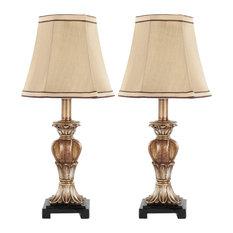 Gabriella Mini Urn Lamp, Set of 2, Gold, Beige Shade