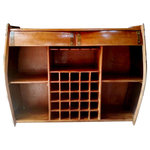 """Master Garden Products - Barrel Wine Rack Cabinet, Walnut Finished, Double Drawers,16""""D x 62""""W x 36""""H - An original wine barrel design from Master Garden Products, this wine cabinet provides a unique alternative to built-in cabinetry. This authentic oak wood barrel bar buffet organizes, stores and displays your entertaining essentials. It features teak wood shelves and a back panel made of hardwood with a mahogany veneer. We finish the cabinet by hand applying a walnut stain which we lightly distress and then seal the whole thing with lacquer for durability and moisture resistance. This cabinet has double drawers made of teak wood and has bottom-mounted steel runners. A double depth wine glass rack holds 8 full-size wine glasses. The wine grid will accommodate 25 bottles, while the cabinet also has 4 shelves for all your other storage needs.16""""D x 62""""W x 36""""H"""