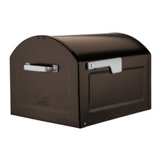 Centennial Large Capacity Mailbox, Rubbed Bronze With Silver Flag