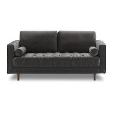 Bente Tufted Velvet Loveseat 2-Seater Sofa Gray