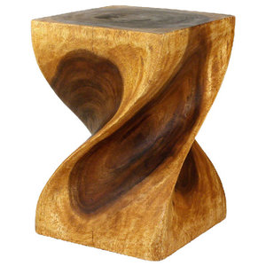 """Haussmann Big Twist Stool 14""""x20"""" Acacia Wood, Livos Oak Oil Finish"""