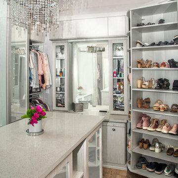 Closet Island with Vanity and Shoe Storage