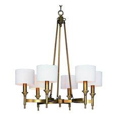 Maxim Fairmont Six Light Natural Aged Brass Up Chandelier