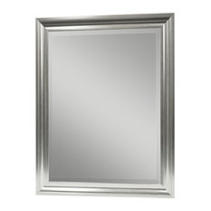 Bathroom mirrors Traditional Fastfurnishings Rectangular Beveled Vanity Mirror With Satin Silver Finish Frame Bathroom Mirrors Houzz 50 Most Popular Bathroom Mirrors For 2019 Houzz