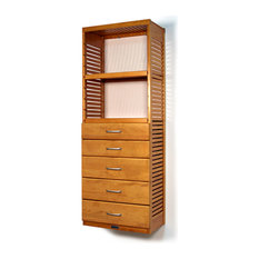 "16"" Deep Tower With 5 Drawers, Honey Maple"