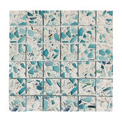 Vetrazzo Floating Blue Recycled Glass Mosaic Tiles, Full Sheet