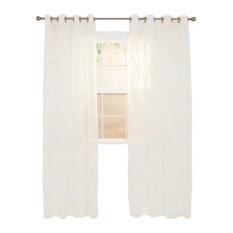 """Elisa Emboidered Curtain Panel, Beige, 108"""""""