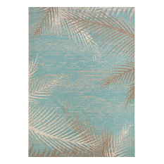 "Couristan Monaco Tropical Palms Indoor/Outdoor Area Rug, Aqua, 8'6""x13'"