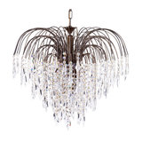 Visconte Bath 6 Light Ceiling Pendant with Crystal Droplets, Antique Brass