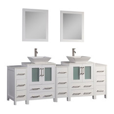 "Vanity Set With Ceramic Top, White, 84"", Standard Mirror"