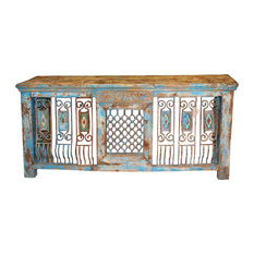 Consigned Antique TV Console Table Iron Jali Rustic Wood Farmhouse Design