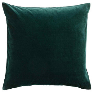 Dark Emerald Velvet Cushion, Feather