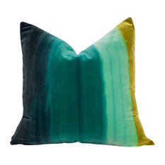 "Amazilia Ombre Velvet Pillow, Aqua Green, 20""x20"", With Pillow Insert"
