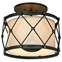 Valentina 3 Light Semi-Flush Mount in Aged Pewter