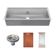 Rivage 45 x 19 Single Basin Undermount Kitchen Workstation Sink