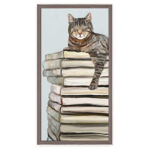 Cat On Books 1 Canvas Wall Art By Cathy Walters Contemporary Prints And Posters By Greenbox Art Culture Houzz