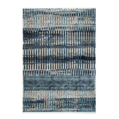 """Contemporary Shaded Fringe Carlee Striped Vintage Area Rug, Blue, 6'7""""x9'4"""""""