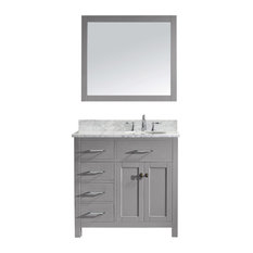 Caroline Parkway 36-inch Vanity With Marble Top And Round Sink With Faucet