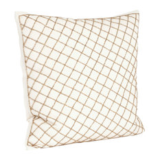 Hand Beaded Diamond Design Decorative Throw Pillow, Bronze