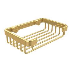 Shower Basket Rectangular 5.2Lx3.7Dx1.3H, Polished Brass