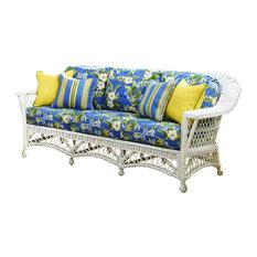 Bar Harbor Sofa in White, Aqua Fabric