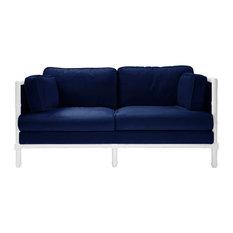 World Away Ainsley Lacquer and Velvet Sofa, Navy Velvet