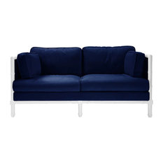 Worlds Away World Ainsley Lacquer And Velvet Sofa Navy Sofas