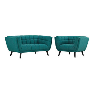 Admirable Bestow 2 Piece Upholstered Fabric Sofa And Loveseat Set Inzonedesignstudio Interior Chair Design Inzonedesignstudiocom