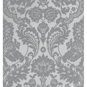 Gothic Damask Flock Wallpaper, Grey and Silver