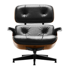 Eames Lounge by Herman Miller, Chair Only, Walnut, Color, Black Leather