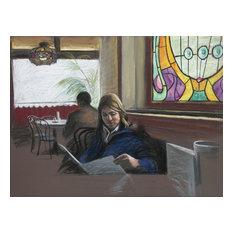 "Harry McCormick ""Reading the Menu"" Pastel Drawing"