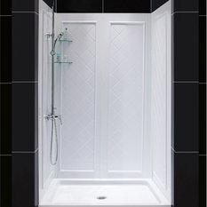 dreamline slimline single threshold shower and qwall5 shower backwalls kit shower stalls
