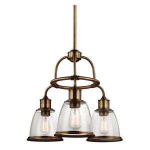 Hobson 18.75 Inch Three Light Chandelier Aged Brass Clear Seeded Glass
