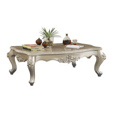 Traditional Style Rectangular Wood And Marble Coffee Table Silver