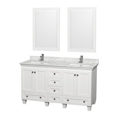 "Acclaim 60"" White Double Vanity White Marble Top, 24"" Mirror, Undermount Square"