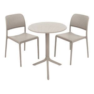 Step Table With Bistrot Chairs, 3-Piece Set, Turtle Dove
