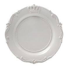 "Ceramic Crown Salad Plate, White, 9.5"", Set of 4"