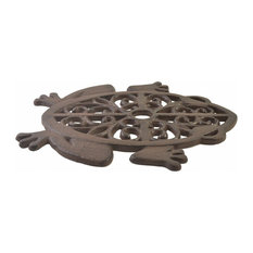 Decorative Cast Iron Yard And Garden Stepping Stone, Cutout Frog, Rust Brown