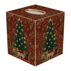 TB389- Christmas Tree on Red Damask Tissue Box Cover