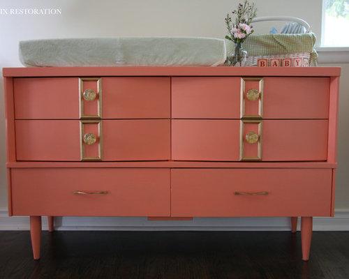 Bassett Coral And Gold Mid Century Nursery Dresser