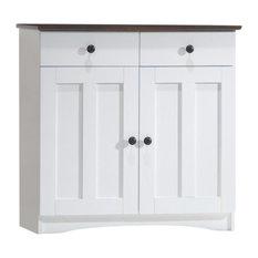 Lauren White and Dark Brown Buffet Cabinet, 2 Doors/2 Drawers