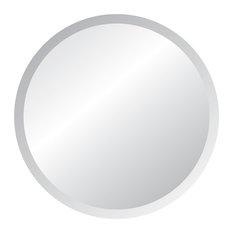 """Frameless Mirror with Polished Beveled Edges, 36"""" Round"""