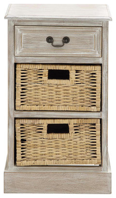 Urban Designs Weathered 3 Drawer Nightstand With Wicker Baskets · More Info