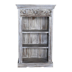DE-COR | Globally Inspired - Consigned, Whitewash Carved Bookcase - Bookcases