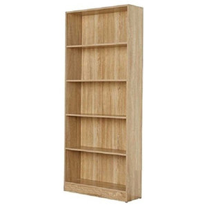 Contemporary Stylish Bookcase, Oak Finished MDF With 5 Open Storage Shelves