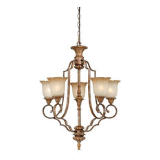 Tuscan Bronze and Waikiki Sand Glass 5-Light Chandelier