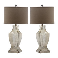 Glass Bottom Lamp ZMT-LIT4156D (Set of 2) - Antique Silver/Wheat Shade