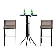 Outsunny 3-Piece Outdoor Patio Pub Bistro Table and Chairs Set